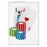 Tarjetas de Black Jack con las fichas de póker