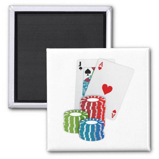 Tarjetas de Black Jack con las fichas de póker Imán De Frigorifico