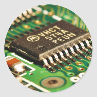 Tarjetas de circuitos de chips de ordenador etiquetas redondas
