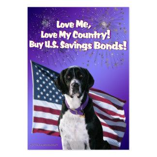 Tarjetas de comercio del patriotismo del perro del plantilla de tarjeta personal