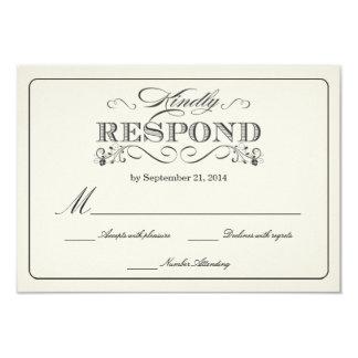 Tarjetas de contestación blancas del boda del invitación 8,9 x 12,7 cm