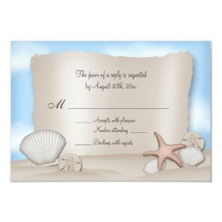 Tarjetas de contestación del boda de playa invitación personalizada
