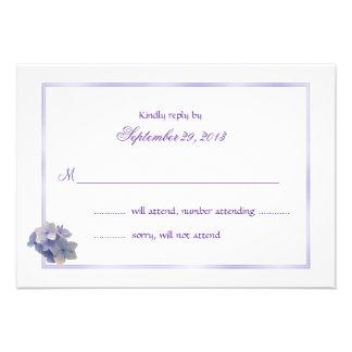 Tarjetas de contestación del boda del Hydrangea de Invitaciones Personalizada