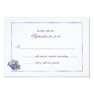 """Tarjetas de contestación del boda del Hydrangea de Invitación 3.5"""" X 5"""""""