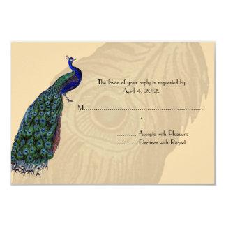 Tarjetas de contestación del pavo real del vintage comunicado