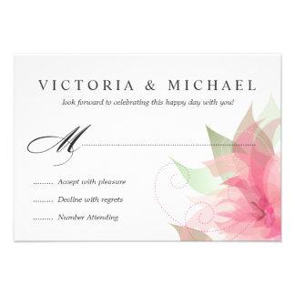 Tarjetas de contestación florales de la acuarela d invitaciones personales