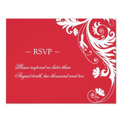 Tarjetas de contestación rojas y blancas del boda invitación personalizada
