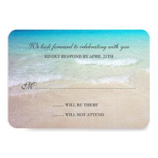Tarjetas de contestación simples del boda de playa invitación 8,9 x 12,7 cm