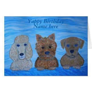 Tarjetas de cumpleaños adaptables de los perritos