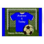 Tarjetas de cumpleaños azules del tema del fútbol