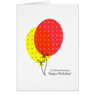 Tarjetas de cumpleaños del nieto, globos coloridos