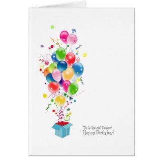 Tarjetas de cumpleaños del primo, globos coloridos