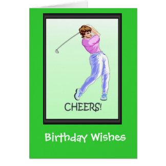 Tarjetas de cumpleaños Golfing, golfista de la señ