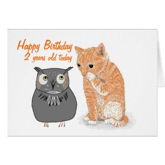 Tarjetas de cumpleaños sabias del búho del gatito