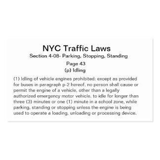 Tarjetas de desocupado de la ley del motor tarjetas de visita
