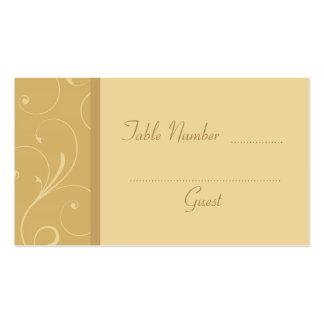 Tarjetas de encargo amarillas de oro del lugar de tarjeta de visita