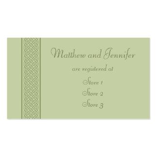 Tarjetas de encargo célticas verdes del registro tarjetas de visita