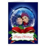 Tarjetas de encargo de la foto del navidad del glo