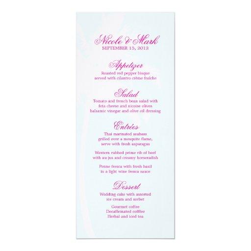 Tarjetas de encargo del menú del boda de las invitación 10,1 x 23,5 cm