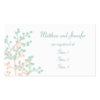 Tarjetas de encargo del registro de regalos del bo tarjetas de visita