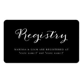 Tarjetas de encargo del registro del boda del tarjetas de visita
