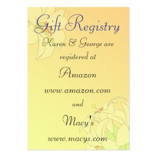Tarjetas de encargo del registro del boda tarjetas de visita grandes