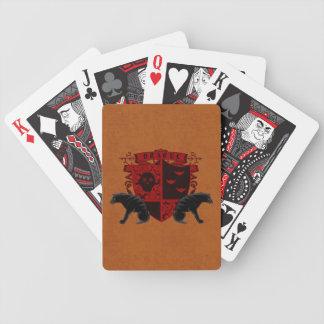 Tarjetas de escudo de armas rojas sangre de Drácul Barajas De Cartas