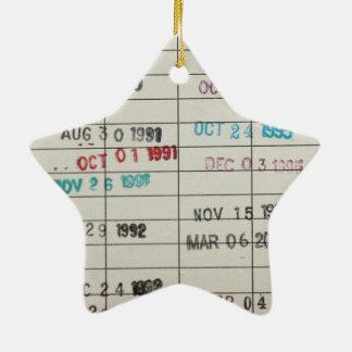 Tarjetas de fecha debida de la biblioteca del adorno navideño de cerámica en forma de estrella