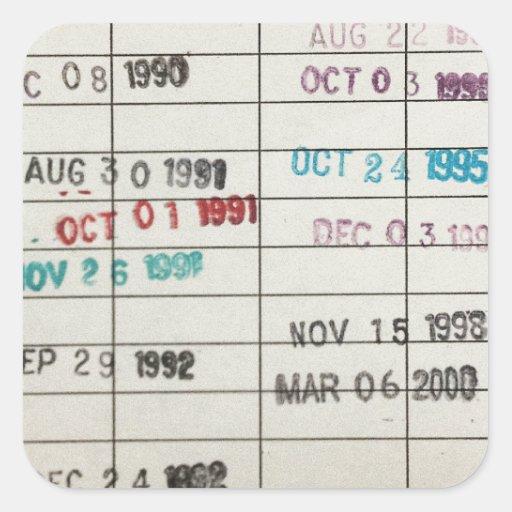 Tarjetas de fecha debida de la biblioteca del calcomania cuadradas personalizada
