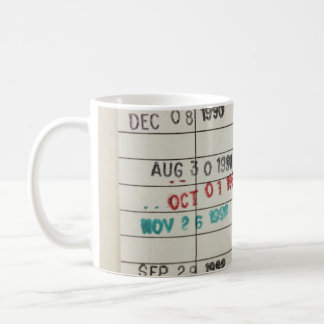 Tarjetas de fecha debida de la biblioteca del taza