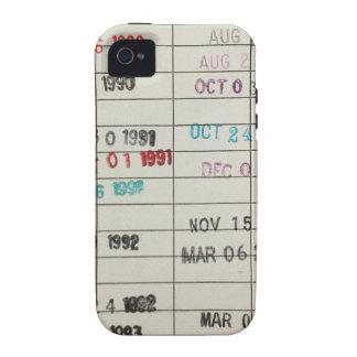 Tarjetas de fecha debida de la biblioteca del vint iPhone 4/4S carcasas