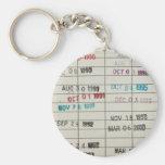 Tarjetas de fecha debida de la biblioteca del vint llavero redondo tipo pin