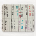 Tarjetas de fecha debida de la biblioteca del vint tapete de raton