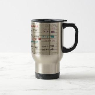 Tarjetas de fecha debida de la biblioteca del vint taza de viaje de acero inoxidable