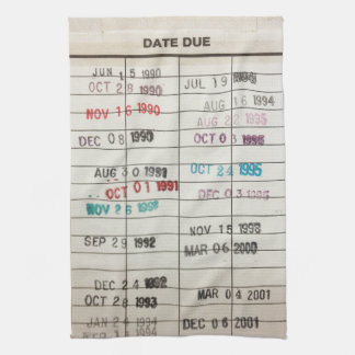 Tarjetas de fecha debida de la biblioteca del vint toalla