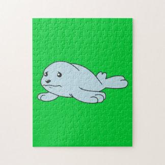 Tarjetas de felicitación azules gritadoras de cría rompecabezas con fotos