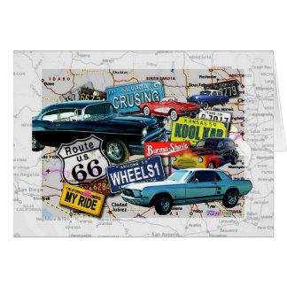 Tarjetas de felicitación - coches de la ruta