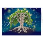 Tarjetas de felicitación cósmicas del árbol