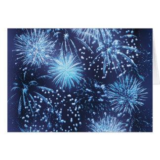 Tarjetas de felicitación de los fuegos artificiale