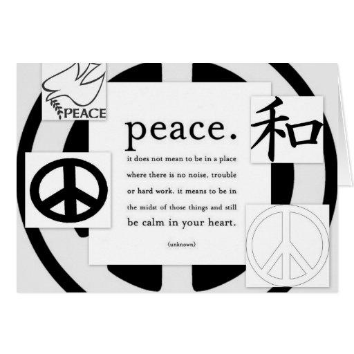 Tarjetas de felicitación de los símbolos de paz