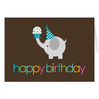 Tarjetas de felicitación del cumpleaños del elefan
