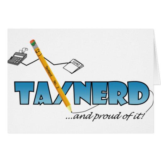 Tarjetas de felicitación del empollón del impuesto