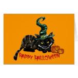 Tarjetas de felicitación del gato de las brujas de