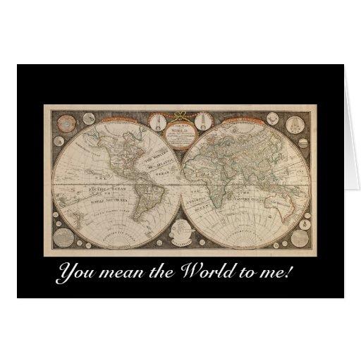 Tarjetas de felicitación del mapa de Viejo Mundo