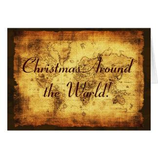 Tarjetas de felicitación del navidad del mapa de V