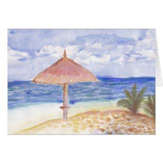 Tarjetas de felicitación del parasol de playa