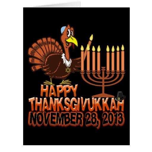 Tarjetas de felicitación felices de Thanksgivukkah
