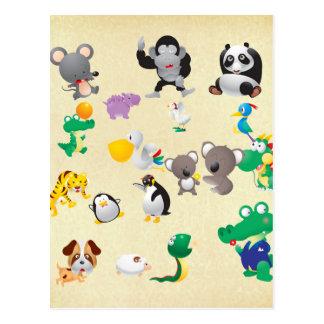 Tarjetas de felicitación lindas de los animales tarjetas postales