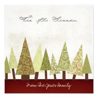 Tarjetas de felicitación planas del navidad anuncio