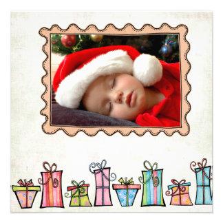 Tarjetas de felicitación planas del navidad anuncio personalizado